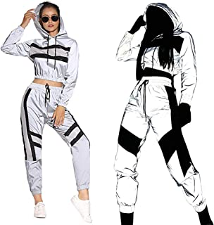 ECHOINE Womens Sexy 2 Pieces Outfits - Fully Reflective Crop Long Sleeve Jacket Pants Tracksuit Set Night Out Party Club Wear