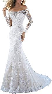 59ed9c80b62 VKStar® Robe Epaules Dénudées Dentelle Soirée Robe de Mariée Princesse Manches  Longues Robe Mariage Sirène
