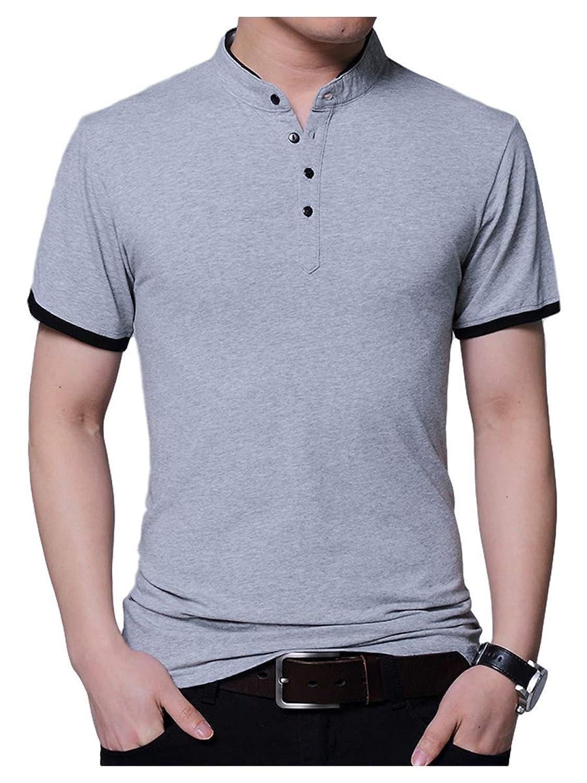 [サン ブローゼ] レイヤード 風 ポロシャツ 半袖 スタンドカラー ヘンリーネック シンプル スタイル M ~ XL メンズ