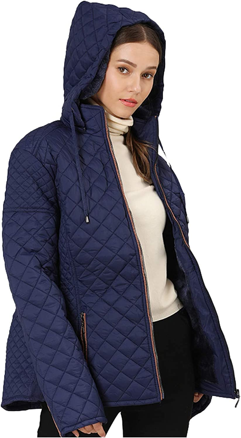 Womens Plus Size Puffer Coat, Sayhi Quilted Jacket Lightweight Full-Zip Short Overcoat Casual Outwear with Drawstring