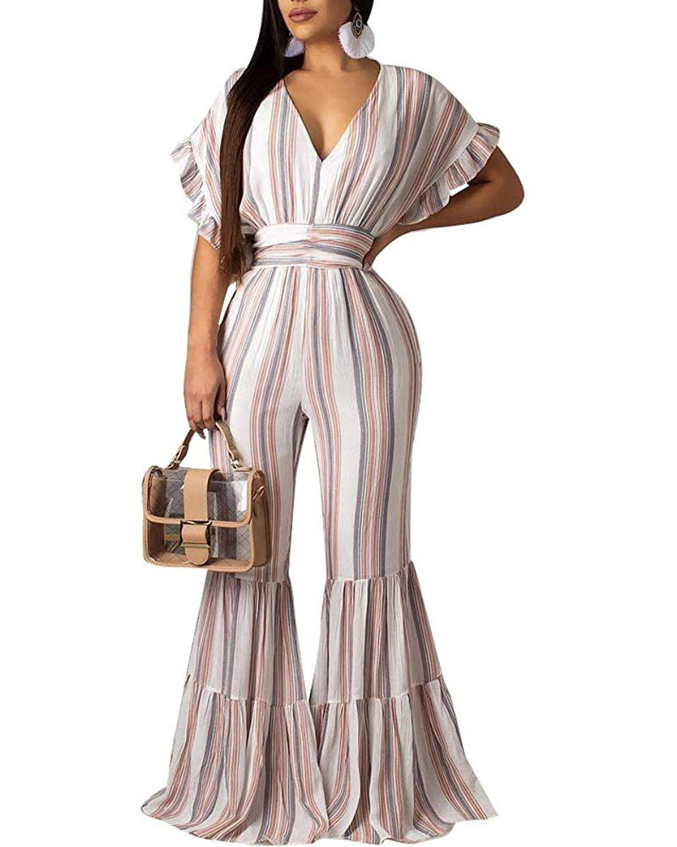 Uni Clau Bell Bottom Jumpsuit for Women Summer - Deep V Neck Flare Sleeve Wide Leg Rompers