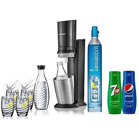 Sodastream Pack Spécial avec Machine à Eau Pétillante et Soda Crystal Noir, Avec 2 carafes en Verre 0.6 L, 4 Verres, 1 Concentré Pepsi, 1 Concentré 7UP et 1 Cylindre de CO2 60 L [Exclusif Amazon]