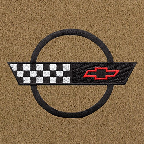 Lloyd Mats - Velourtex Tan Front Floor Mats for Corvette 1991-96 with Black C4 Flag Applique