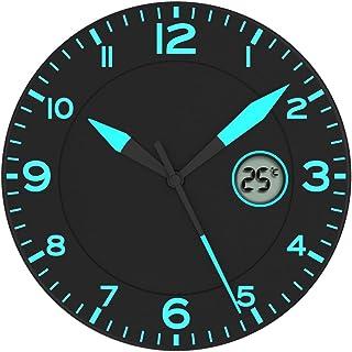 comprar comparacion FISHTEC ® Alba Reloj de Pared Negro/Azul * con Temperatura
