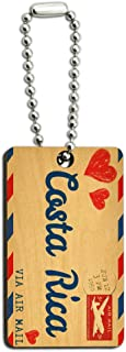 Graphics and More Air Mail Postcard Love for Costa Rica Wood Wooden Rectangle Key Chain