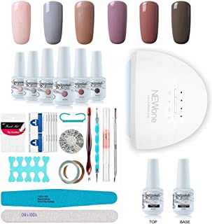 Gel Nail Polish Starter Kit, Speed Curing 48W Professional LED lamp Base Top Coat Set & 6 Colors, Manicure Tools Popular Nail Art Designs by Vishine #C006