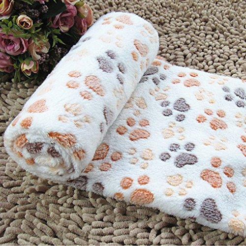 QHGstore Weiche warme Haustier Fleece Decken Bett Matten Auflage Abdeckungs Kissen für Hund Katze Welpen Tier Beige Fußabdruck S