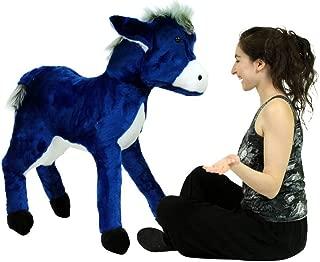 Big Plush Giant Stuffed Blue Donkey 42 Inch Soft Life Size Stuffed Animal Made in USA