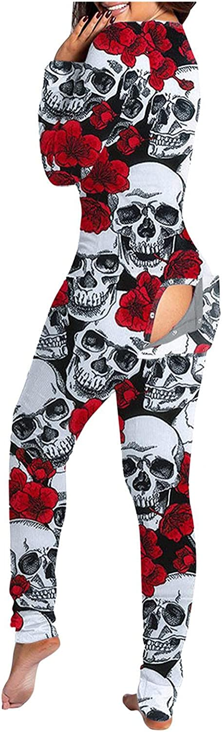 Lingbing Halloween Jumpsuits for Women, Vintage Skull Print Costumes Long Sleeve Pajamas V Neck Bodysuits with Butt Flap