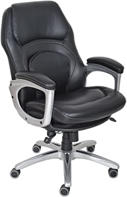 Serta Wellness by Design Executive Office Chair, Back in Motion Technology, Ergonomic Computer Chair with Lumbar Support, Bonded Leather, Black