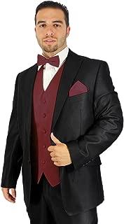 Enimay Men's Combo Pack 3pc Set Solid Vest Bowtie Hankerchief.