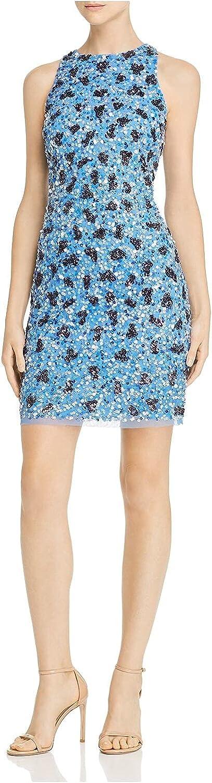 Aidan Mattox Womens Blue Sequined Sleeveless Jewel Neck Short Body Con Cocktail Dress Size 2