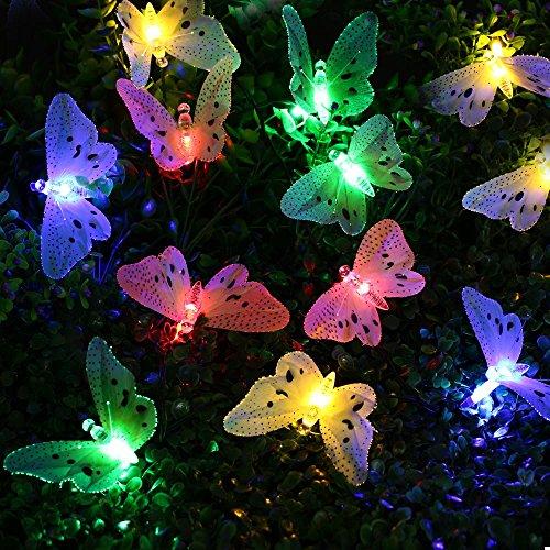 lederTEK 20 LED Catena di Luce Solare con Disegno della Farfalla per Esterni in Fibra Ottica, Patio, Terrazza