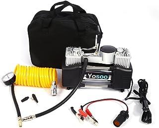 Yosoo Mini Reifen, Pumpe, Kompressor, 150 PSI, tragbar, elektrisch, Kompressor, Auto, Motorrad, Fahrrad, Luftpumpe, mit Messgerät DC 12 V