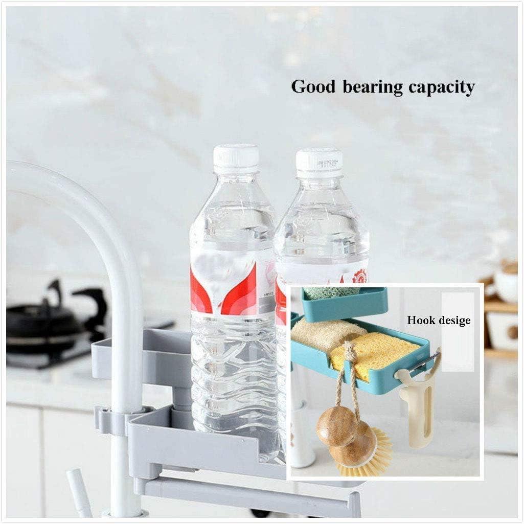 azul Estante de drenaje de doble grifo estante giratorio de 360 /° y organizador de soporte de esponja 3 en 1 para organizador de fregadero de cocina