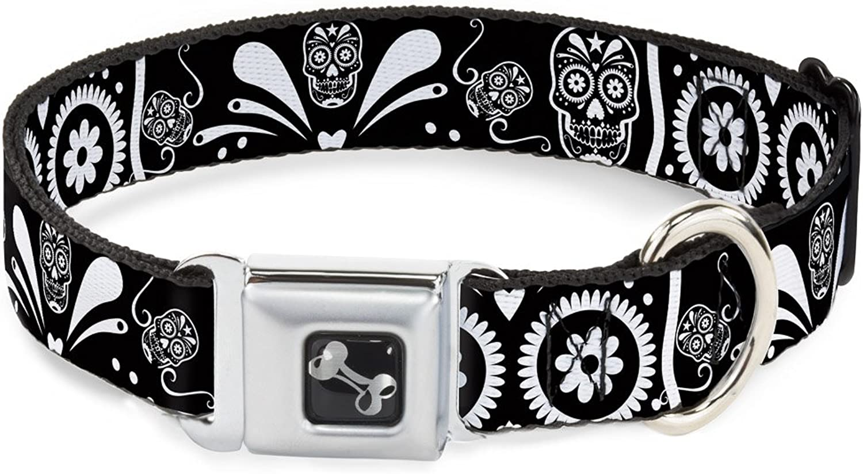 BuckleDown DCW31986S Dog Collar Seatbelt Buckle, Sugar Skulls Black White, 1  X 915