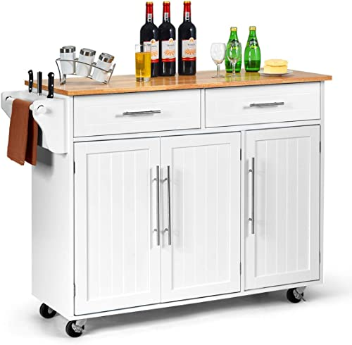 popular Giantex Kitchen Island Cart Rolling Storage Trolley Cart with Lockable Castors, 2 Drawers, 3 Door Cabinet, Towel Handle, Knife Block for sale Dining Room Restaurant Use lowest (White) sale