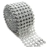 Silver Mesh Ribbon Flower Shape Rhinestone Ribbon Mesh Wrap Roll Diamond Bling Mesh for Wedding Decorations, Wedding Cake, Birthdays, Party Supplies, Arts & Crafts, 4' x 10 yards (30 ft) 1 Roll