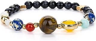 JOYA GIFT Stretch Guardian Bracelet Beaded Gemstone Solar System The Nine Planets Stone Bracelet for Women Men