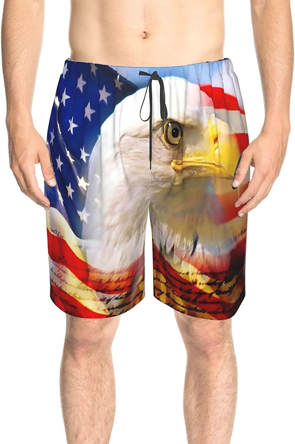 Mens Bathing Suits American Flag Bald Eagle Bathing Suit Boardshorts Drawstring 3D Printed Swimming Trunks with Lining