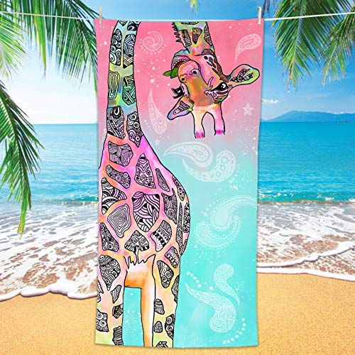 Bonsai Tree Giraffe Beach Towel, Cute Funny Teal Pink Mandala Giraffe Microfiber Bath Towel Gifts for Kids Women, Colorful Abstract Trippy Sand Free Quick Dry Travel Towels for Yoga Sports 30' x 60'