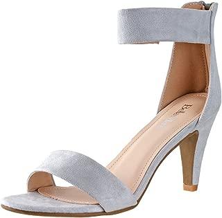 Women's Elysa-1 Open Toe Single Band Ankle Strap Mid Heel Sandal