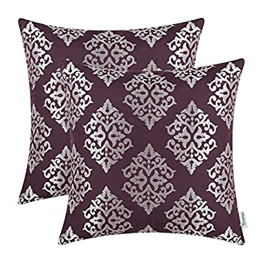 CaliTime Pack of 2 Soft Throw Pillow Covers Cases for Couch Sofa Home Decor, Vintage Damask Floral, 18 X 18 Inches, Eggplant