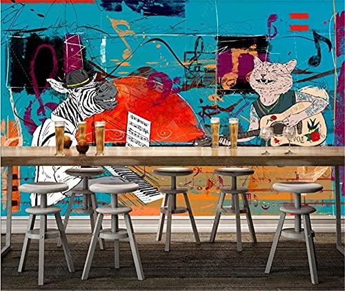 XHXI Blue Music Bar Ktv Pets Screen Fund Industrial Concert Papel pintado Panel Panel De Parede 3D papel Pintado de pared tapiz Decoración dormitorio Fotomural-400cm×280cm