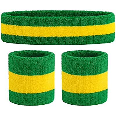 Sweatband Set Sports Headband Wrist Striped Sweatbands Wristband Basketball