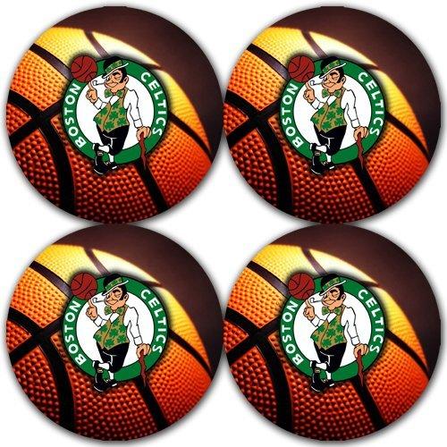 Celtics Basketball Rubber Round Coaster set (4 pack) Great Gift Idea Boston