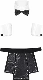 Kaerm Men's 4PCS Waiter Tuxedo Costume Bow Tie Collar Cuffs with Faux Leather Shorts Scottish Kilt Outfit
