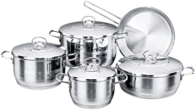 YBM Home Korkmaz Astra Cr-Ni 9-Piece Stainless Steel Cookware Set, Pots and Pan Set with Aluminum Bottom Capsule Base Provides Fast and Even Heat Distribution, Silver