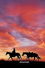 Journal: Cowboy leading horse along horizon at dusk/dawn, 120 page (60 sheet) 6