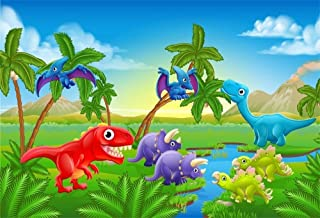 CdHBH 5x3ft Cute Cartoon Dinosaur Backdrop for Photography Riverside Jurassic Ancient Animals Dinos Foraging Scene Photo Background for Kids Birthday Party Events Decoration Video Drapes Wallpaper
