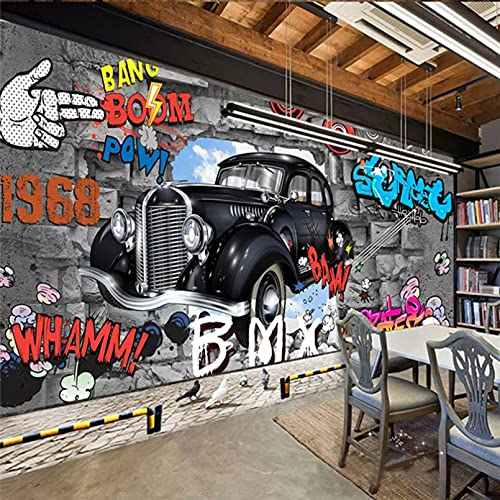 Papel tapiz mural con foto de coche de dibujos animados retro 3D KTV Bar Cafe personalidad papel tapiz mural 3D creativo 350x250cm