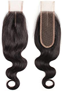 FDX 9a Brazilian Human Hair Deep Part 2x6 Lace Closure Body Wave,Middle Part Lace Closure Pre Plucked with Baby Hair,100% Unprocessed Human Hair Body Wave Virgin Hair Extension Natural Color 10 inch.