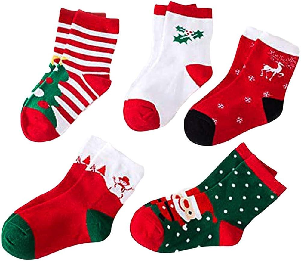 LITOON Christmas Socks Children Socks Kid Socks Cotton Socks Cute Socks for Kids 5 Pairs