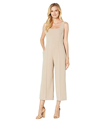 Donna Morgan Squared Neck Cropped Wide Leg Jumpsuit (Taupe) Women