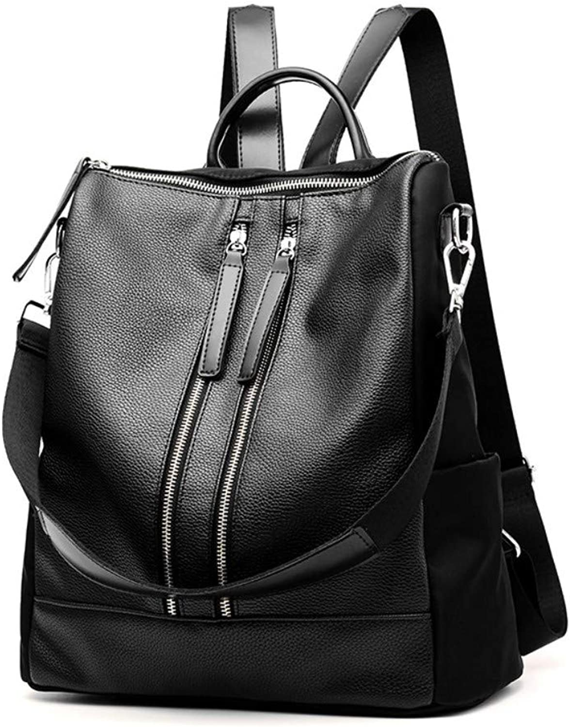 Z.H-H Wild Fashion, Small Fresh Lady Casual, Simple and Large-Capacity Personality PU Soft Leather Backpack