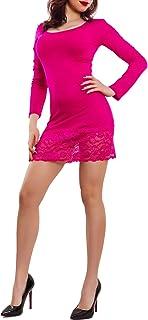 Toocool - Miniabito Donna maxitop Fondo Pizzo Floreale Vestito Maglia Basic Sexy VB-420