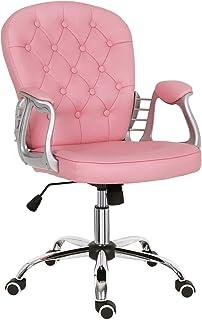 Silla de escritorio para el hogar, de cuero rosa, cómoda y acolchada, silla de ordenador, altura aj