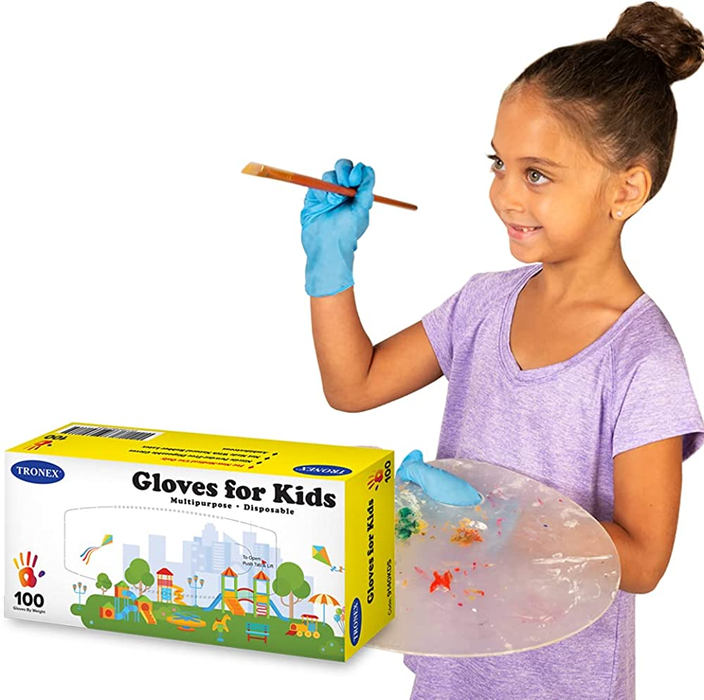 Tronex Kids Nitrile Disposable Gloves Safe High quality Food 6-12 Over item handling for Years