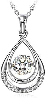 Swarovski Elements Crystal 18K Gold Plated 925 Sterling Silver Pendant Necklace for Women Ladies Girls Gift Package J.Rosé...