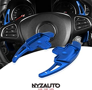 NYZAUTO Aluminum-Alloy Steering Wheel Paddle Shifter Extension Fit For Mercedes Benz A B C CLA CLS E G GL GLA GLC GLE GLS Metris S SL SLC Class(Model B-Blue)