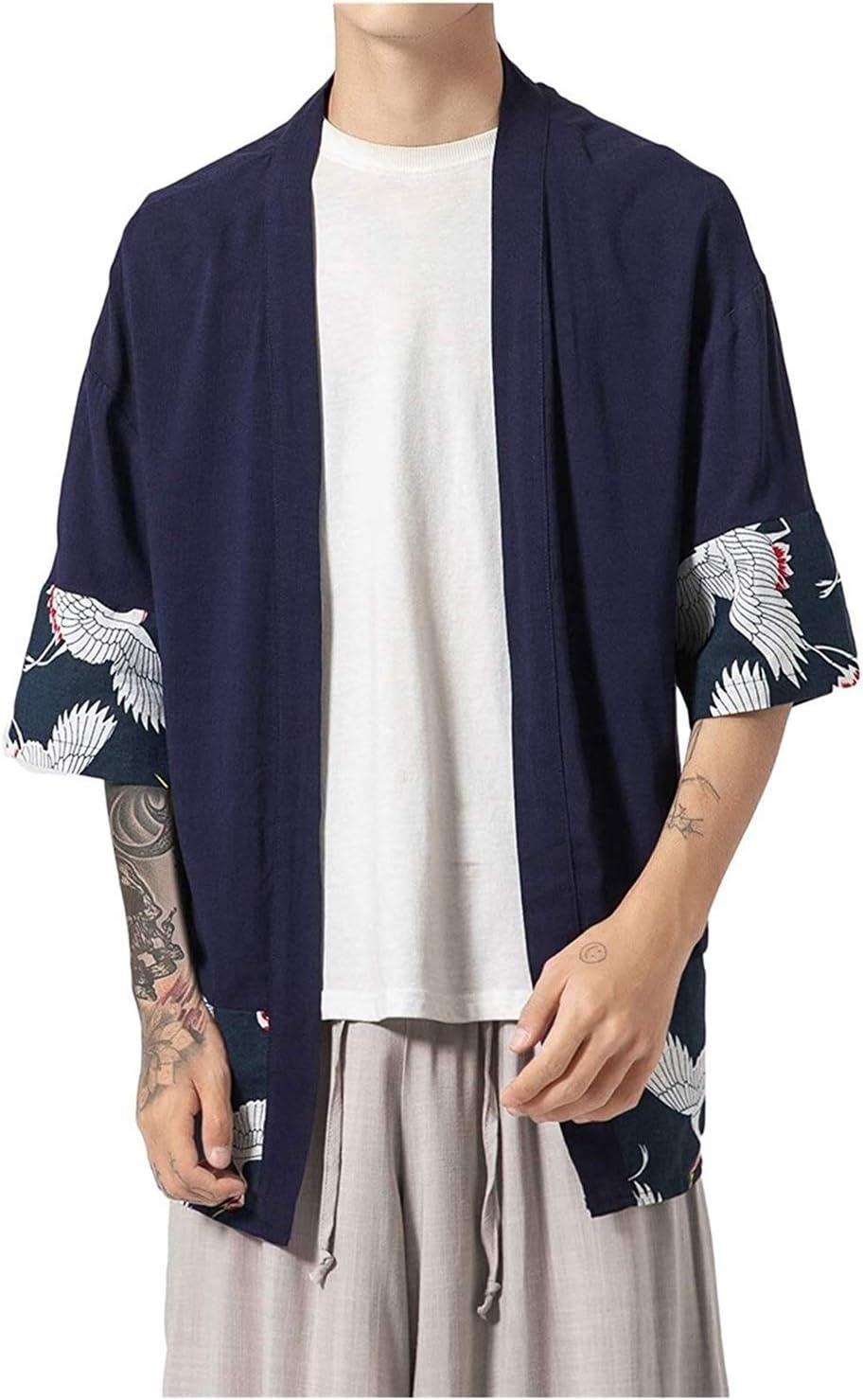 LINFENG Men's Japanese Fashion Kimono Cardigan Haori Jacket Cotton Linen Blends Vintage Cloak Open Front Loose Fit Yukata (Color : Natural, Size : XX-Large)