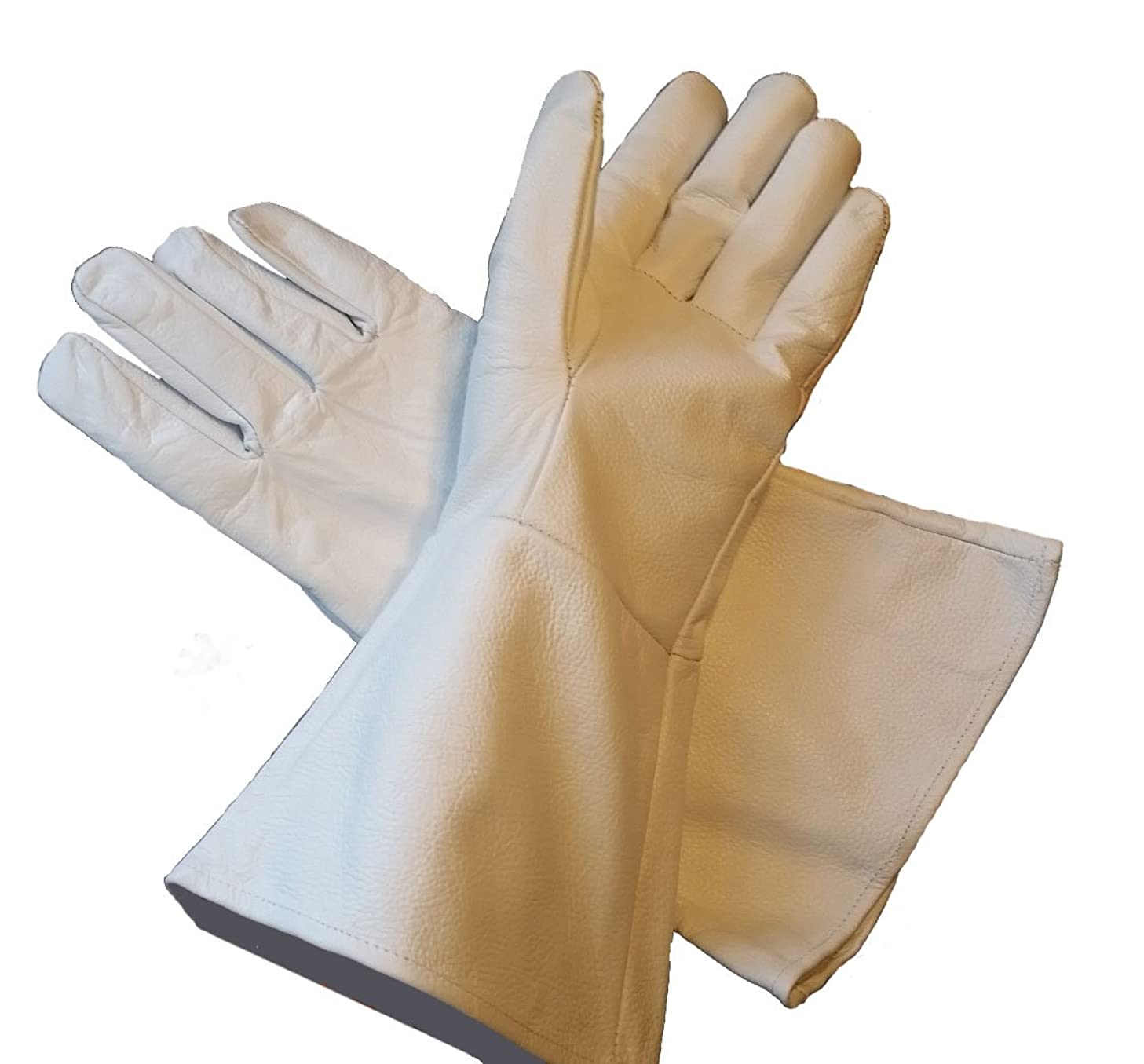 Leather Gauntlet Gloves White Large Long Arm Cuff