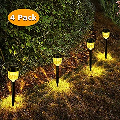 Bebrant Solar Pathway Lights Warm White Outdoor Solar Garden Lights Waterproof Landscape Decoration Auto On/Off Solar Lights for Driveway,Walkway,Patio,Yard 4-Pack