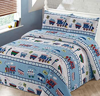 Luxury Home Collection 3 Piece Full/Queen Size Quilt Coverlet Bedspread Bedding Set for Kids Teens Boys Girls Trains Light Blue White Green Red Yellow