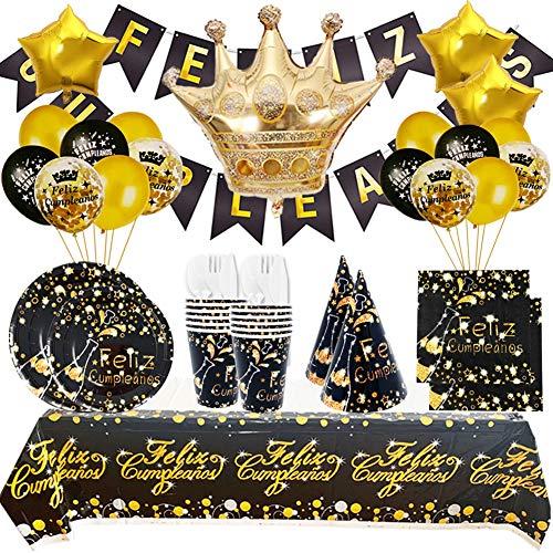 Decoración Cumpleaños Adulto Negro Oro y Vajilla Desechable de Feliz Cumpleaños Negro dorado - Conjunto de Fiesta Accesorio Plato Vaso Pancartas y Globos para Mujer Hombre - 16Invitados