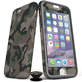 Screenflair- iPhone 7/8/SE Accessory Bundle - Designer Drop Tested Matte Protective Case - Shatterproof and Scratch Resistant Screen Protectors - Phone Grip - Classic Camo Design